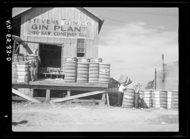 Rehabilitation supervisor and client at cotton gin. Smithfield, North Carolina