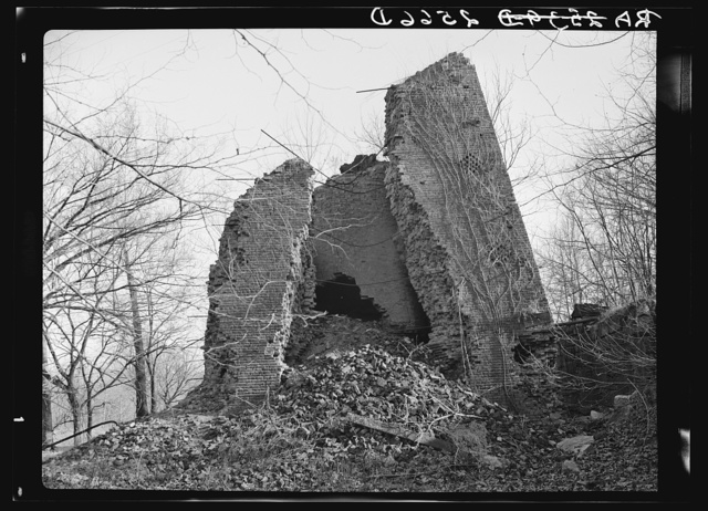 Remnants of the old iron center furnace of Hickman County on the Coalins Forest and Game Reservation. Kentucky