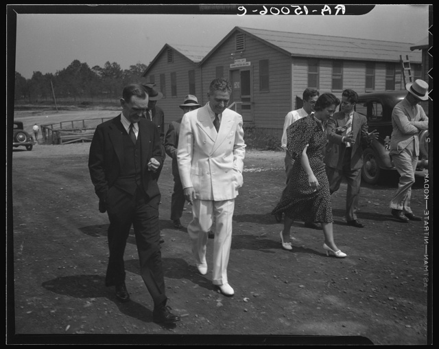 Resettlement Administrator R.G. Tugwell with his aides at the Greenbelt project, Maryland