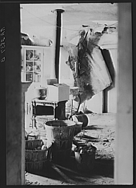 Room off the kitchen used as a storeroom in farmhouse optioned for wildlife area. Albany County, New York