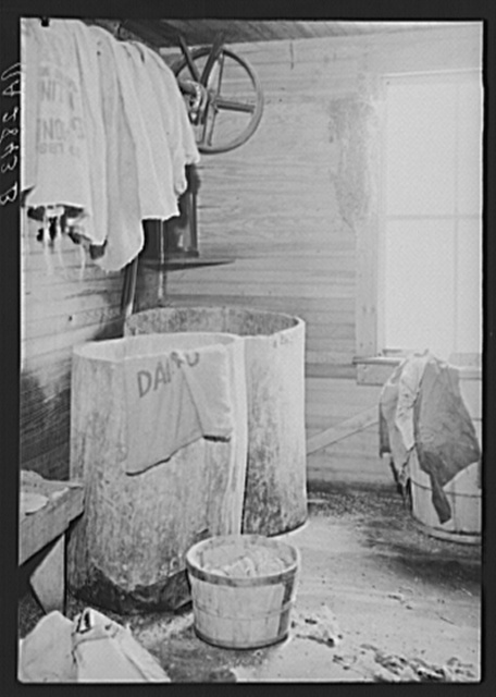 Room off the kitchen used as indoor swill pail in farmhouse optioned for wildlife area. Albany County, New York