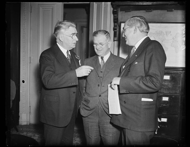 [Royal S. Copeland, left; Harold Ickes, center]