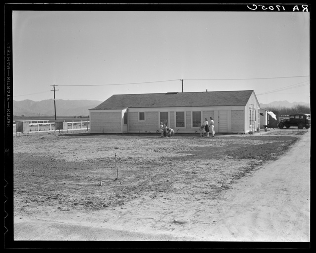 San Fernando federal subsistence homesteads. Forty homes, all occupied, each with nearly an acre of ground. Average income eight hundred dollars yearly. California