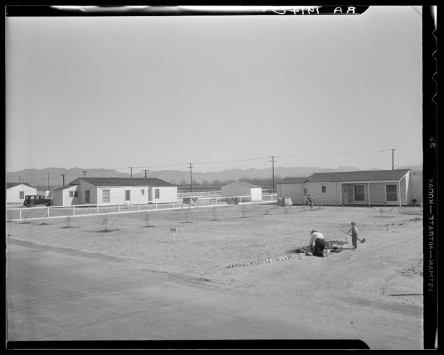 San Fernando federal subsistence homesteads. Forty homes all occupied, each with nearly an acre land. Average yearly income eight hundred dollars. California