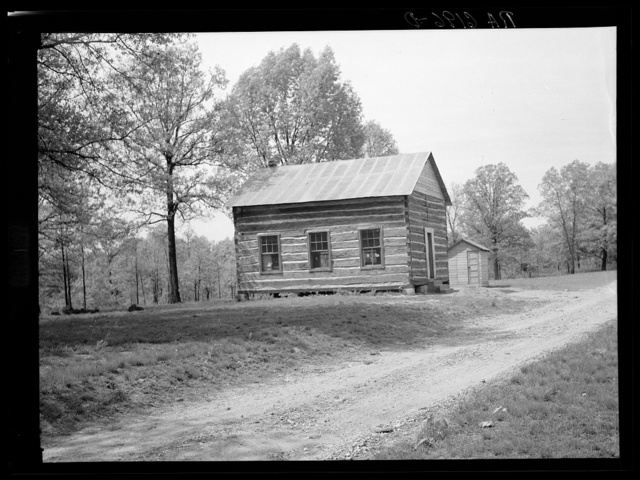 Schoolhouse on passover area to be abandoned soon. Lake of the Ozarks recreational project, Missouri