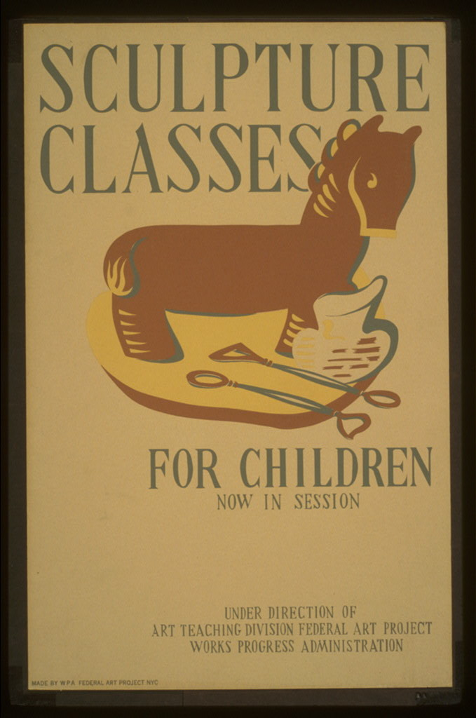 Sculpture classes for children now in session Under direction of Art Teaching Division, Federal Art Project, Works Progress Administration.