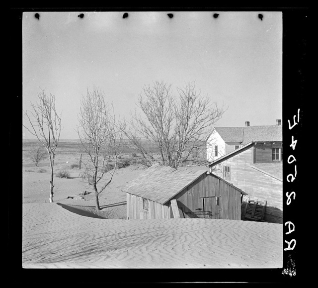 """Soil blown by """"dust bowl"""" winds piled up in large drifts near Liberal, Kansas"""