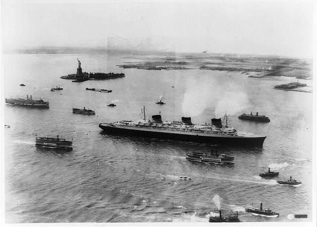 S.S. Normandie arriving in New York Harbor on maiden voyage