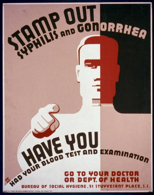 Stamp out syphilis and gonorrhea Have you had your blood test and examination : Go to your doctor or Dept. of Health.