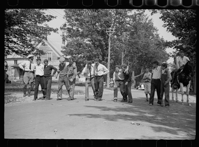 Start of the three-legged race. Fair at Albany, Vermont