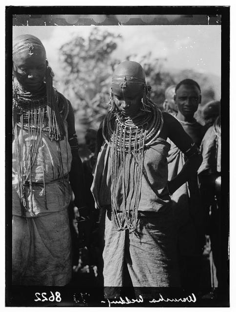 Tanganyika. Arusha. Warusha women with trinkets and ornaments, close up