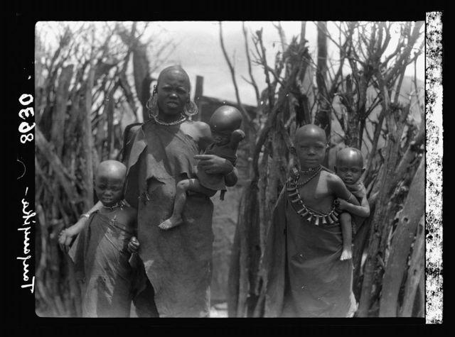 Tanganyika. En route to Longido. A Tanganyika woman with her children