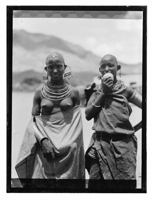 [Tanganyika. En route to  Longido. Longido girls with large ear ornaments]