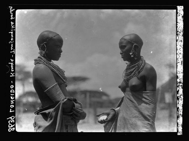 Tanganyika. En route to Longido. Two girls near Longido