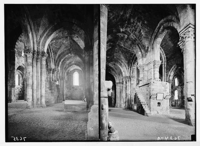 Tartous. The Crusader cathedral. Int[erior], looking S.W. ; int[erior] looking S.E. with sarcophagus