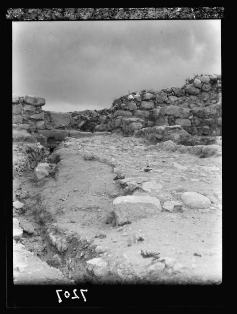 Tel Deweir (Lachish). Inner gateway within S.W. bastion, original threshold below gate jambs, one stone of later sill (Persian period) in position above. Drainage trenches run to stone sill