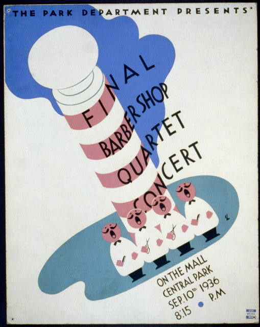 The Park Department presents final barbershop quartet concert on the mall, Central Park / BL.