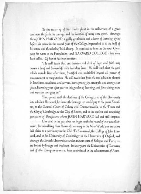 The President and fellows of Harvard college to Greetings: [An invitation to the Tercentenary celebration] 1936.