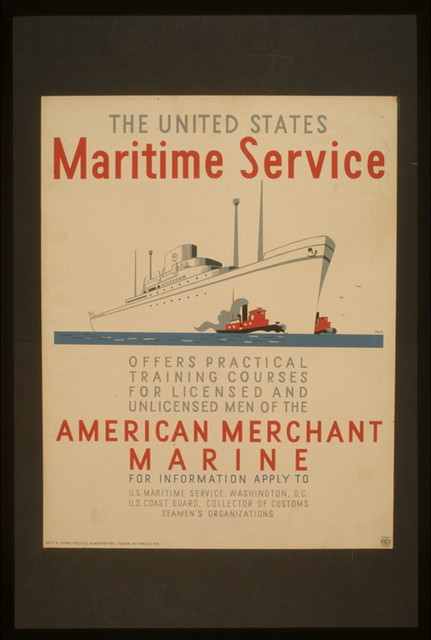 The United States Maritime Service offers practical training courses for licensed and unlicensed men of the American Merchant Marine / Halls.