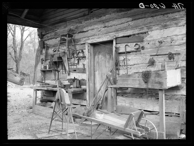Tool shed converted from old log house on Watson homestead. Cuivre River recreational project near Troy, Missouri