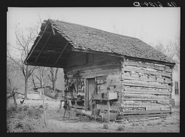 Tool shed converted from old log house on Watson homestead. Cuivre River recreational demonstration project near Troy, Missouri