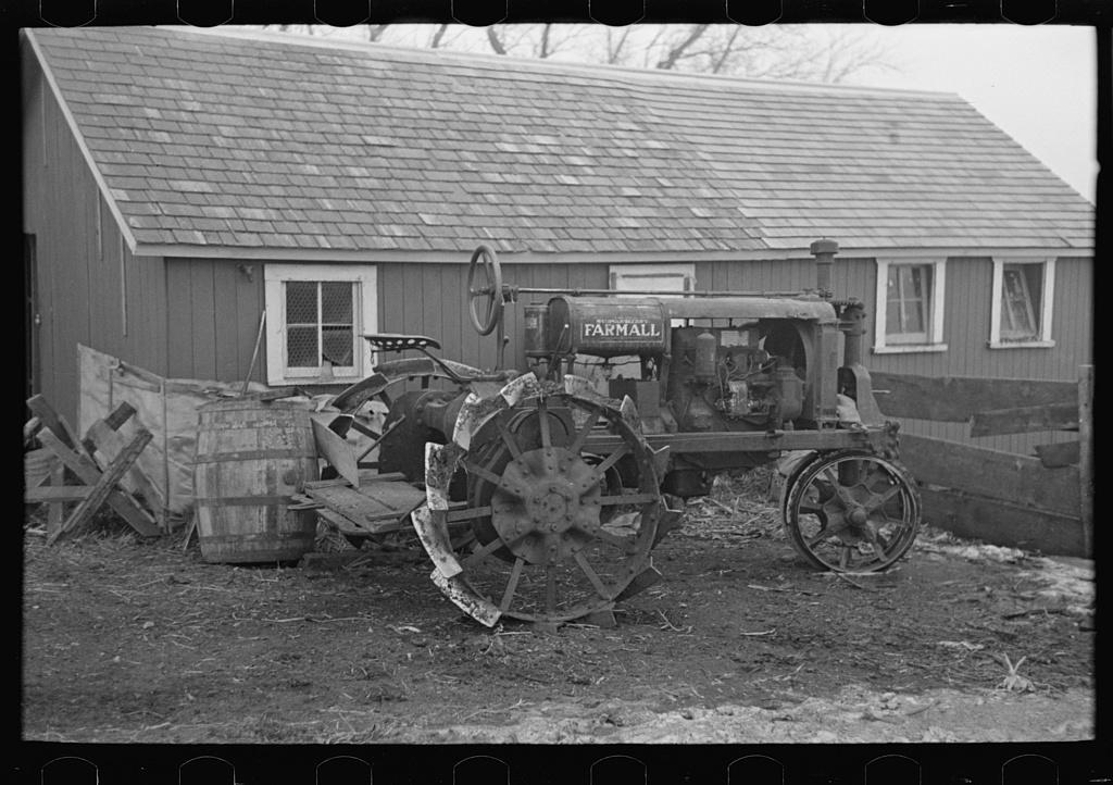 Tractor on Roy Merriott farm near Estherville, Iowa