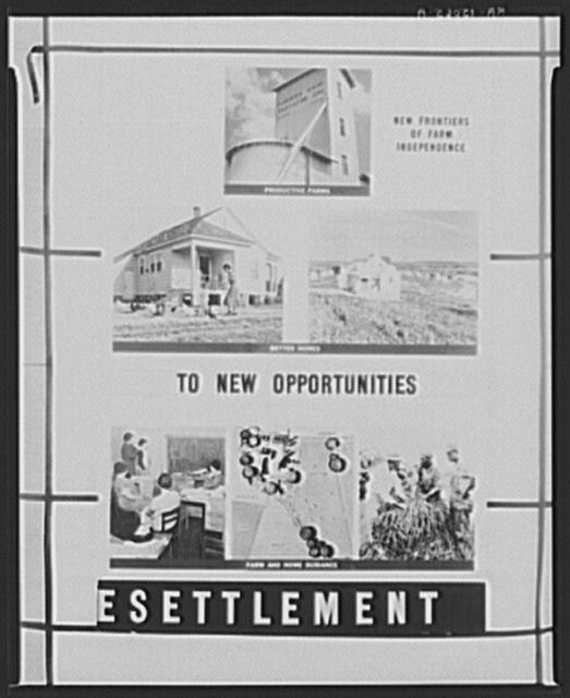 Traveling exhibit. Rural Resettlement Administration program. Panel two