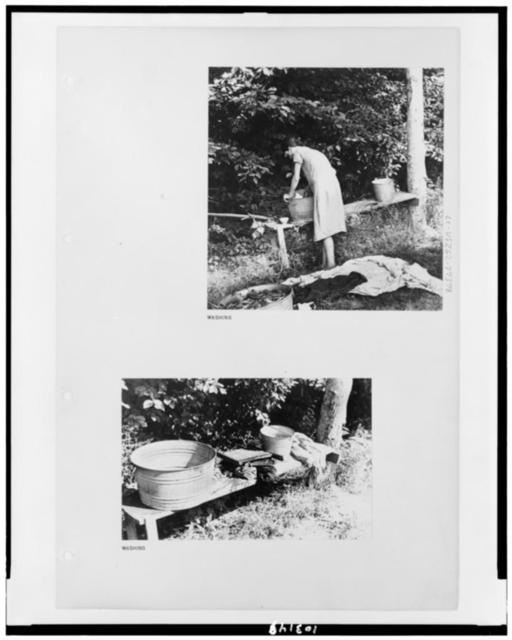 [Two photographs on an Alabama sharecropper's farm -- Mrs. Frank Tengle, near Moundville, Hale County, Alabama, washing clothing in tub and tub and clothing on bench]