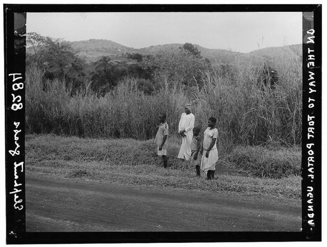 Uganda. From Hoima to Fort Portal. Types along the roadside. Elephant grass in background