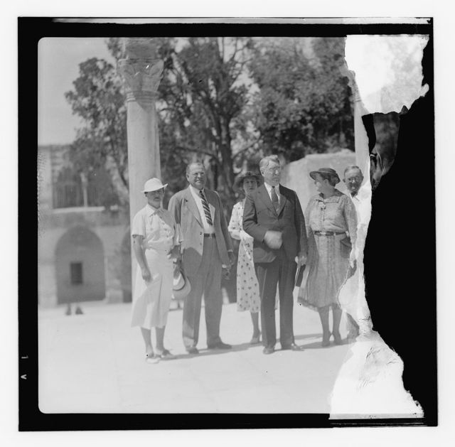 U.S. Senators and their wives, Jerusalem, 1936, R. Copeland, W. Austin, D. Hastings.