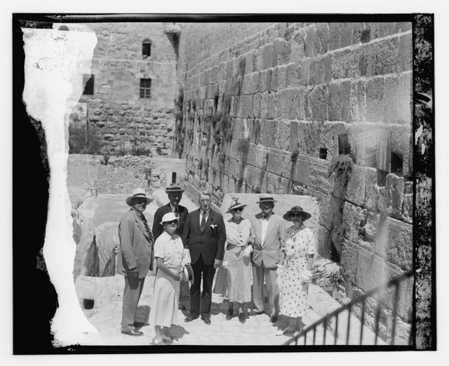 U.S. Senators and their wives, Jerusalem, Aug. 1936, R. Copeland, W. Austin, D. Hastings [at the Western Wall]