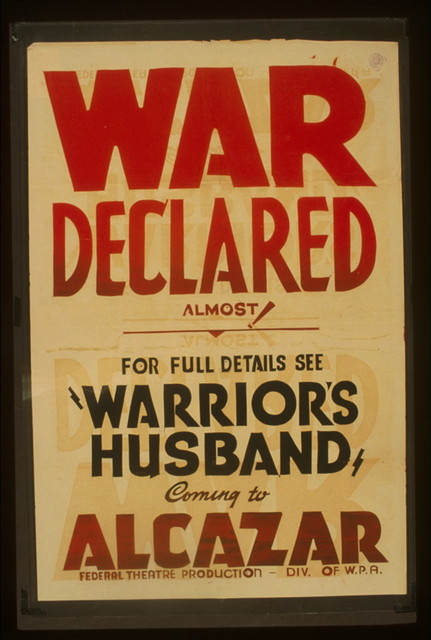 """War declared Almost! : For full details see """"Warrior's husband"""" coming to Alcazar."""