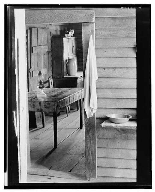 Washstand in the dog run and kitchen of Floyd Burroughs' cabin. Hale County, Alabama