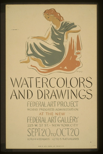 Watercolors and drawings, Federal Art Project, Works Progress Administration, at the new Federal Art Gallery / herzog.