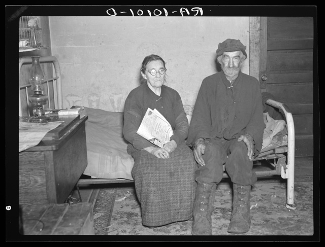 William Hubbard, seventy-five, and his wife, one of the oldest residents in Emmet County, Iowa. He has rented farms and also worked as hired hand, but is too old to work now. He owns one acre of land