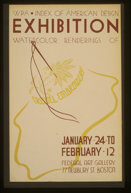 WPA Index of American Design exhibition Watercolor renderings of crewel embroidery.