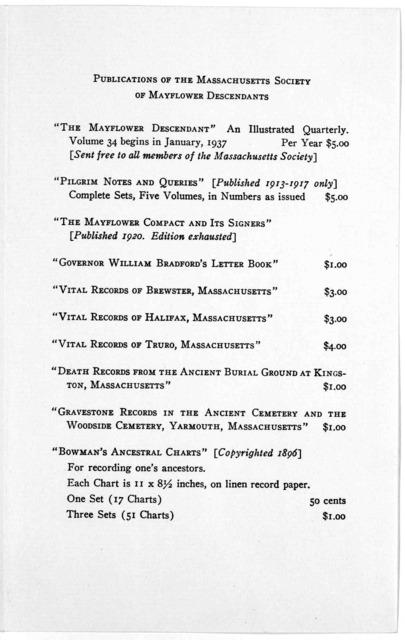 1620 1937. Massachusetts Society of Mayflower descendants. ... A John Alden meeting. 22 September 1937.