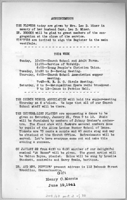 [44 church bulletins from January 8, 1939-April 27, 1941.]