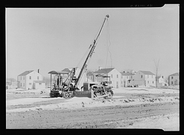 A derrick and grader on the Greendale Suburban Resettlement project near Milwaukee, Wisconsin