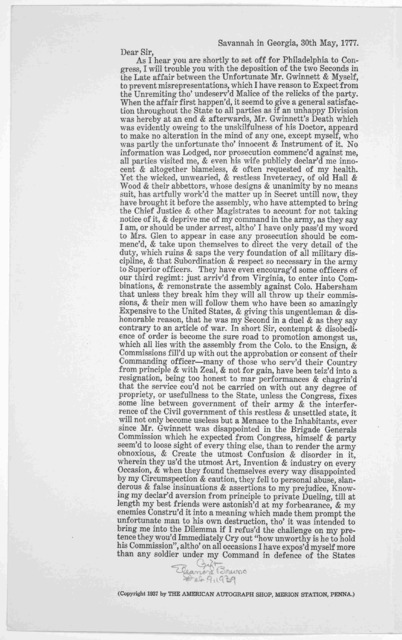A historic duel. A letter written by Brigadier General Lachlan McIntosh to Colonel John Laurence, Military secretary to General Washington, three days after the death of Button Gwinnett being a true relation of the duel, of the events that cause