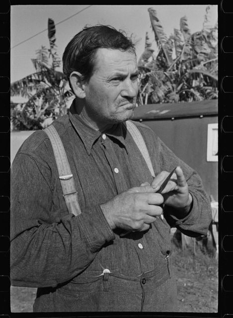 A migrant fruit worker in Belle Glade, Florida. He was formerly a tenant farmer in Georga