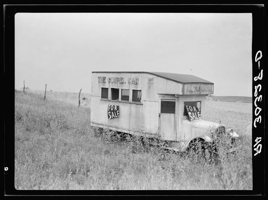"Abandoned ""gospel car"" near Kewanee, Illinois"
