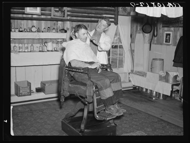 Barber shop in the lumber camp at Hagerman Lake, Michigan