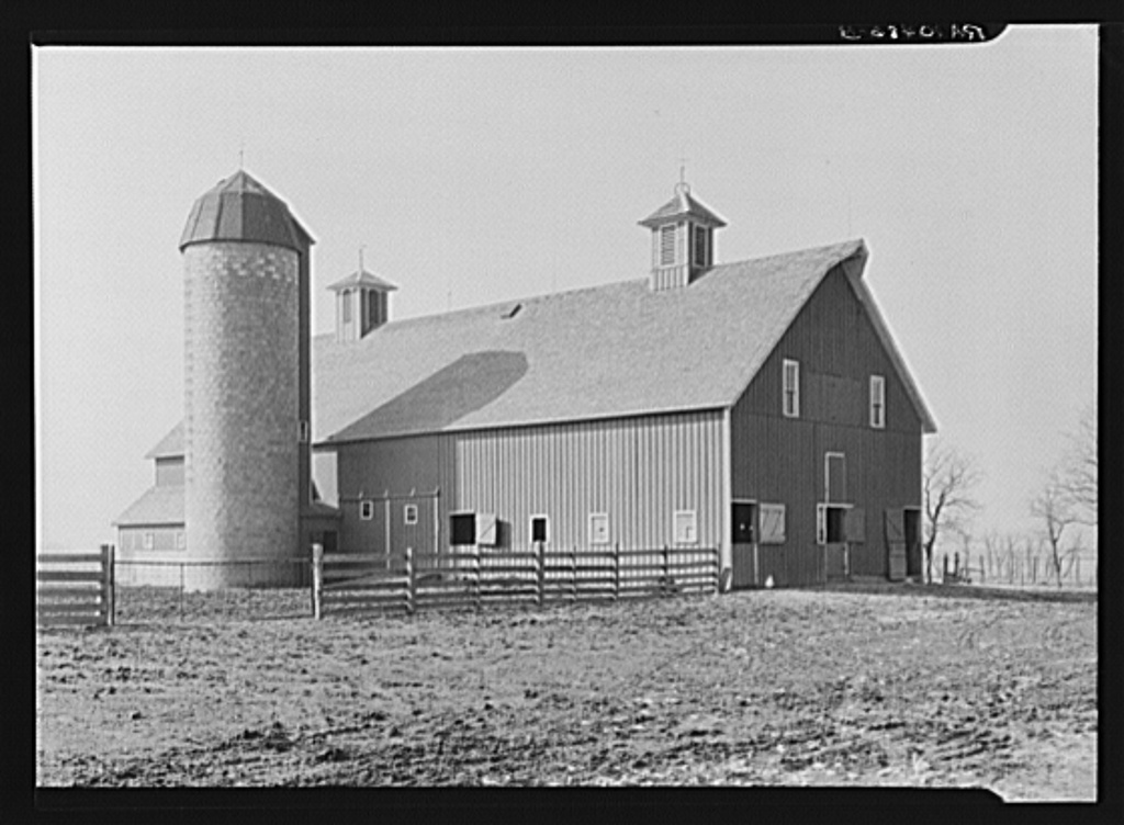Barn and silo on the owner-operated farm of two hundred thirty acres belonging to Mary Lah, widow. This farm, which has carried a small mortgage since the depression, lies west of Fowler, Indiana, near the state line of Illinois