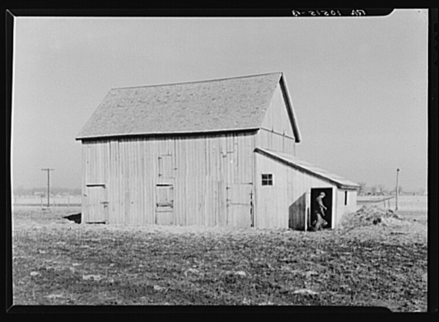 Barn on the land of Sylvester Garring, thirty-one-year-old tenant farmer. Garring built the addition to the barn to house his cattle. The landlord paid for the lumber. Near Fowler, Indiana