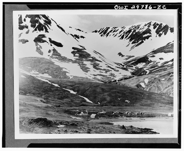 Bleak, mountainous Attu had a population of only about forty people prior to the Japanese invasion. As yet there has been no word as to what happened to these people when the Japanese took over. This is a picture of Attu village situated on Chichagof harbour where much of the recent fighting took place. The tundra, with which the slopes of the hills are covered, may look easy to traverse, but its depth, two or three feet, makes walking difficult and tiring. In June or July, according to experts of the U.S. Fish and Wildlife Service, these slopes will be covered with flowers of which more than 100 different varieties may be found there