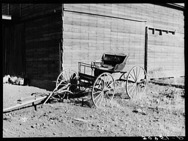 Buckboard (democrat wagon) on farm of Mr. Bertelson. Sheridan County, Montana