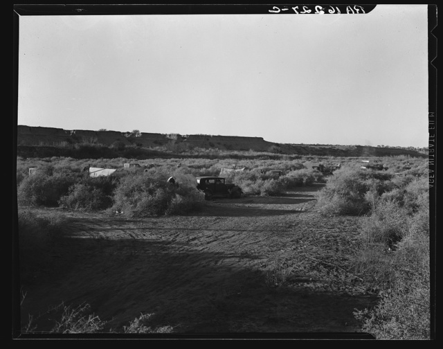 California migratory farm laborers, drought refugees from Oklahoma, camped in the brush on the river bottom with no water or sanitation. On the outskirts of Brawley. Imperial Valley, California