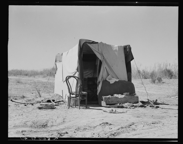 Camp along the roadside. Drought refugees. Imperial County, California