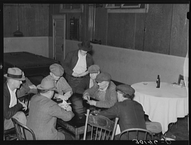 Card game in Plentywood saloon. Montana